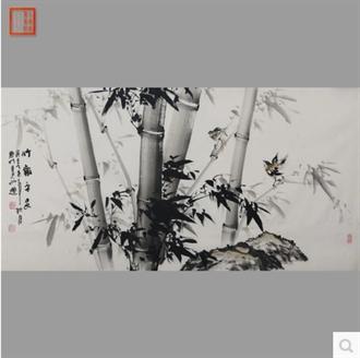 林颜卿真迹手绘国字画作品四尺横幅手绘写意水墨竹子节节高升w920