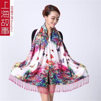 上海故事丝巾女士秋冬季长款桑蚕丝真丝双面双层拉绒围巾披肩两用